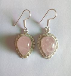 Natural Pink Rose Quartz Oval/Pears Shape Earrings Beautiful Design in Silver by bilalGems8 on Etsy