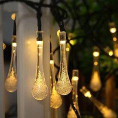 Led Solar Lights - Solar-Powered Raindrop Outdoor String Lights