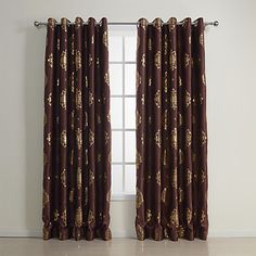 (Two Panels) Traditional Golden Print Blackout Curtains – USD $ 84.99
