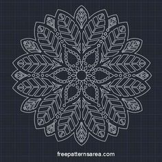 Free dxf and dwg Autocad Leafs Desing, Mandala Drawing Files
