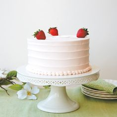 To make this strawberry cake with frozen strawberries, simply replace the fresh berries in the cake with the same amount of frozen berries, thawed completely and puréed with their juices. In the filling, replace the fresh berries with an equal amount of frozen berries, thawing, draining, and patting them dry before folding into the whipped cream. Do not use frozen berries for garnish.