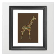 Electric Giraffe Framed Art Print ($33) ❤ liked on Polyvore featuring home, home decor, wall art, framed art prints, black wall art, face illustration, animal wall art, acrylic wall art and framed wall art