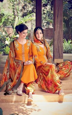 Orange cotton salwar kameez suits