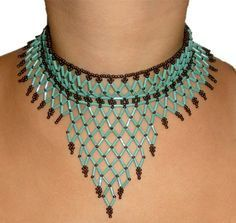 Free pattern for beaded necklace Waterfall    U need:  seed beads 11/0  bugle beads  [ad name=