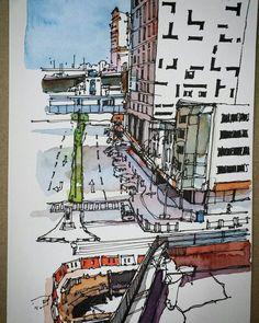Jalan Wong Ah Fook, Johor Bahru.  #johorsketchers #klsketchnation #architecture #architecturelovers #architectureporn #archidaily #sketching #sketches #drawing #drawingoftheday #panorama #linework #lineart #uniball #uniballpen #pen #pensketches #pensketch | por Hafizal_Nordin