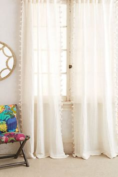 whimsical curtains for the office - will let in a lot of light but aren't just boring white curtains