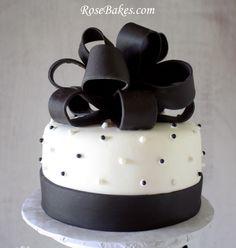 Black White Wedding Cake Tower Topper
