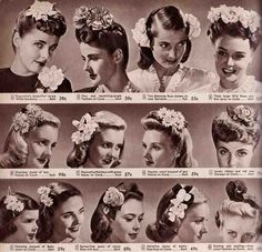 1940s hair flowers made of silk or rayon