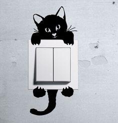 Cute Kitty Cat Baby Pet light switch funny wall decal vinyl stickers  #StickersShopOne #AnimalPrint