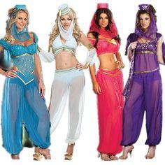 2016 neue Mode Sexy GENIE Jasmine Aladdin Prinzessin Kostüm Kostüm Arabisch Bauchtänzerin Kleid Belly Dancer Fancy Dress, Jasmine Princesa, Dance Outfits, Girl Outfits, Cosplay Mignon, Costumes Sexy Halloween, Diy Costumes, Genie Costume, Arabian Costume