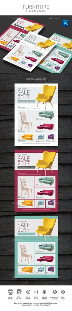Furniture by monggokerso Furniture File Features : Size A4 210×290mm   Bleed area CMYK / 300 dpi Easy to edit text Well organized PSD file 3 Alternative co