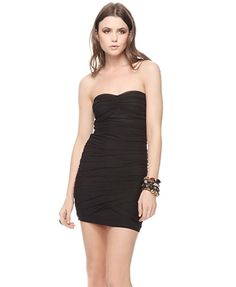 Strapless Ruched Mesh Dress - StyleSays