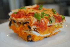 Vegan Layered Sweet Potato, Black Bean, Corn Enchilada Casserole