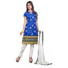 Eid Special Designer Embroidered Blue Chanderi Unstitched Salwar Suit-003(ST-Pari-3)Karishma