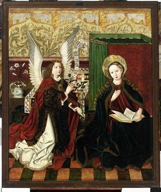 Obilman Annunciation - Category:Gothic paintings of Annunciation - Wikimedia Commons Medieval Paintings, Renaissance Paintings, Renaissance Art, Religious Icons, Religious Art, Anima Christi, Madonna, Saint Gabriel, Alchemy Art