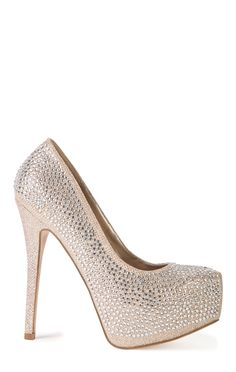Deb Shops Platform High Heel with Glitter Mesh with Crystal Stones $30.00