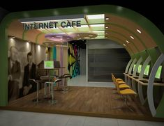 Internet Cafe - Portfolio work - Liking the curved wall.