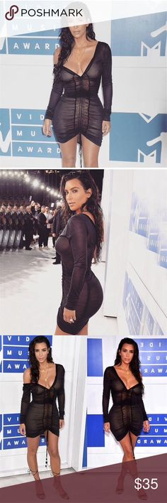 Kim K Bodycon dress Beautiful body con dress, exactly the same dress Kim wore of course for a lot less. Mesh fabric with fabric material under, dress is not see through. 🍷🍾   💫Has a protective layer under💫 Will be delivered 8-12 days after purchase🌻 •Listed brand for exposure • Nasty Gal Dresses
