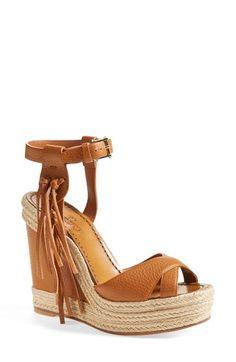 Valentino 'Rockee' Fringe Wedge Sandal (Women) available at #Nordstrom