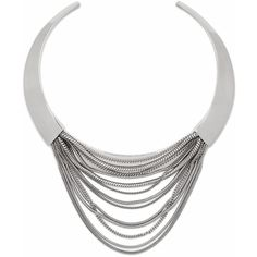 DIANE VON FURSTENBERG Silver Multi Chain Sculptural Collar Necklace (11,595 PHP) ❤ liked on Polyvore featuring jewelry, necklaces, accessories, silver, silver snake chain necklace, multi row necklace, silver jewelry, silver collar necklace and multiple chain necklace