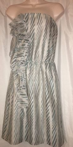 3e1a223f968c5 Ann Taylor Strapless Dress Size Small 100 Silk Ruffle Turquoise Print  Geometric