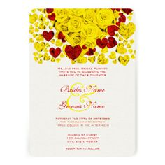 Yellow and Red Heart Roses Wedding Invitation