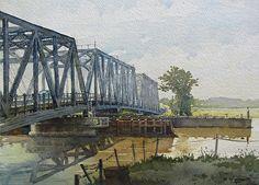 """Dover Swing Bridge by Richard Sneary Watercolor ~ 10"""" x 14"""""""