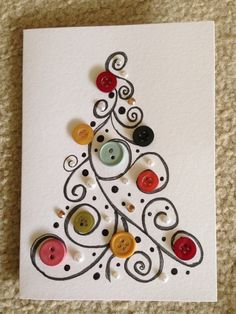 Christmas crafts, winter outfits and other popular ones - DIY Christmas Cards Homemade Christmas Cards, Christmas Art, Christmas Projects, Homemade Cards, Christmas Holidays, Christmas Decorations, Christmas Buttons, Button Christmas Cards, Christmas Ideas