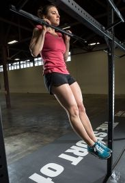 """""""Jackie""""  For time:  1000 meter Row  45 pound Thruster, 50 reps  30 Pull-ups  Julie Foucher. #CrossFit"""