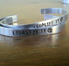 Legalize It   Metal Stamp Bracelet by darkerblue on Etsy, $11.95