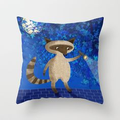 Rocky Raccoon Throw Pillow by  Val Lesiak - $20.00