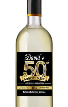 50th Birthday Wine Labels  Personalized by AnnounceItFavors