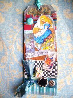 Alice In Wonderland Art Collage Long TagTeal by lynnetteaprilarts, $5.00