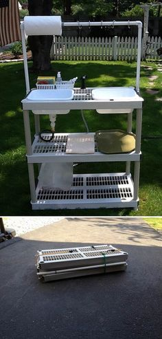 Idea for a collapsible camping wash-station.  No tutorial, but simple enough to follow