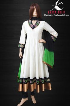 Look flamboyant with this Chanderi anarkali with delicate embroidery for the prettiest you.