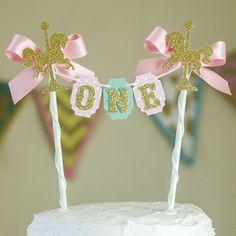 Carousel Cake topper One Cake bunting by GlitzandBowsbyJackie