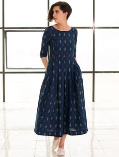 Stay fit and cool with cotton dresses Buy Blue Box Pleated Handloom Ikat Cotton Dress Online in 2019 Kurta Designs Women, Salwar Designs, Blouse Designs, Dress Designs, Cotton Dresses Online, Linen Dresses, Dress Online, Cotton Maxi Dresses, Casual Cotton Dress