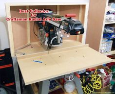 Woodworking Circular Saw Dust Collector for Craftsman Radial Arm Saw - Airplanes and Rockets Beginner Woodworking Projects, Woodworking Techniques, Woodworking Videos, Fine Woodworking, Woodworking Quotes, Cnc Projects, Intarsia Woodworking, Woodworking Equipment, Easy Projects