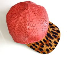 """frankie & johnnie"" cap - pink snake and leopardprint  fiveanddime.com.au #leopard #leopardprint #snakeskin #pink #cap #fashion"