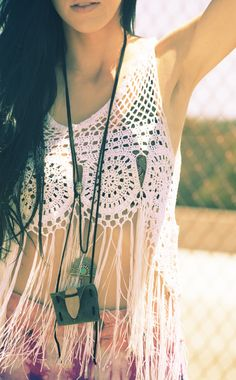 Boho chic crochet top, modern hippie necklace. For MORE gypsy Bohemian fashion trends FOLLOW http://www.pinterest.com/happygolicky/the-best-boho-chic-fashion-bohemian-jewelry-gypsy-/