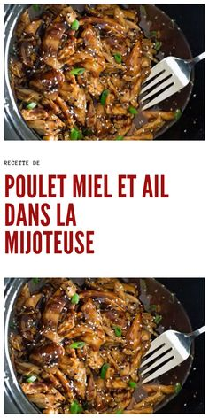 Poulet Miel et Ail dans la Mijoteuse Honey and Garlic Chicken Recipe in Slow Cooker # chicken recipe # honey chicken # honey honey chicken Garlic Chicken Recipes, Healthy Chicken Recipes, Meat Recipes, Slow Cooker Recipes, Asian Recipes, Crockpot Recipes, Recipe Chicken, Salad Recipes For Dinner, Healthy Salad Recipes