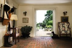 "moj-beli-cvet: ""Hall Entry Inside Bunny Mellon's Oak Spring Farm Estate "" Garden Room, Carpet Flooring, Decor, Oak, Home, Estate Garden, Brick Flooring, Interior, House"