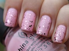 sparkly and pale pink.