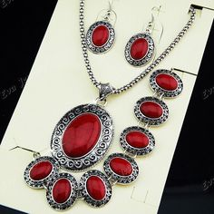 Red Oval Turquoise Antique Silver Earring Bracelet Necklace Vintage Jewelry Set