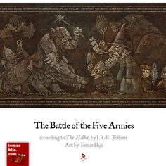 The Battle of the Five Armies high quality print.According to J.R.R. Tolkien's 'The Hobbit'.40x12 inches (100x30 cm.). Rich color on 300 gr. satin paper.Signed