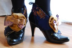 Blue Brocade Satin Rococo Spats steampunk goth Victorian anime lolita burlesque. $25.00, via Etsy.