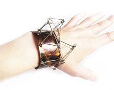 Adjustable bangle Futuristika Cu with oxidized by ProjektMosko, $39.00