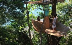 The Dining Pod Thailand. The unusual restaurant table can accommodate up to four people which are said to be served by a waiter on a zip-line.   Would I have to get there on a zip line too?