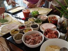 In the Kitchen: Pizza Party! A great idea for a children's (or adult) party; everyone chooses their own toppings!