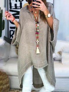 Women Boho Causal Tops V Neck Soild Half Sleeve Blouses - Trendy Outfits Daily Fashion, Boho Fashion, Fashion Outfits, Womens Fashion, Fashion Design, Fashion Styles, Boho Womens Clothing, Fashion 2018, Fast Fashion